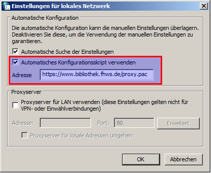 IE: Proxy-Einstellungen