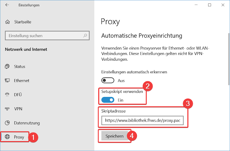 Windows 10-Einstellungen: Proxy
